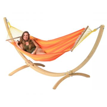 Wood & Relax Orange Hängematte mit Gestell